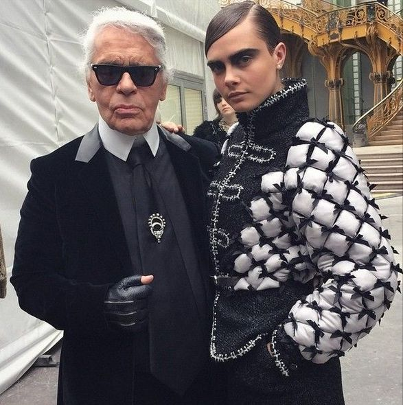 Cara Delevingne, Kendall Jenner, chanel, fw15, 化妝, karl lagerfeld