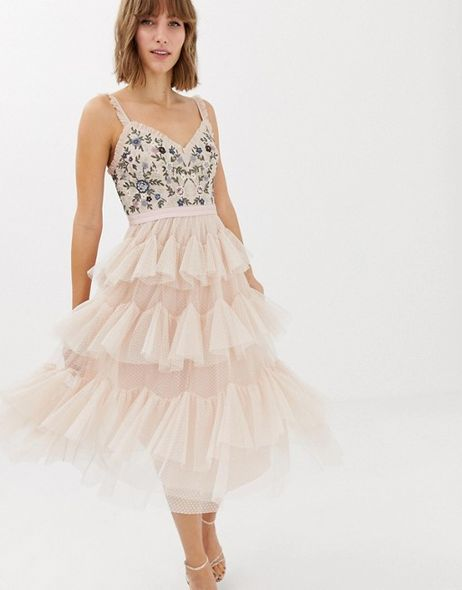 Needle & Thread Embroidered tiered tulle midi dress in rose GBP190(港幣約$1,900)
