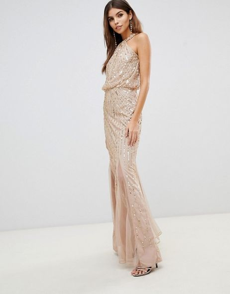 LipsyTwist neck sequin maxi dress in gold GBP130(港幣約$1,300)