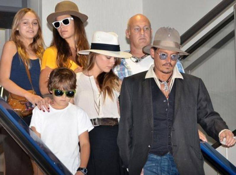 Lily Rose Depp Johhnny Depp And Amber Heard And Son Jack