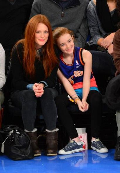 Julianne Moore And Liv Helen Freundlich Attend The Minnesota Timberwolves Vs New York Knicks Game At Madison Square Garden