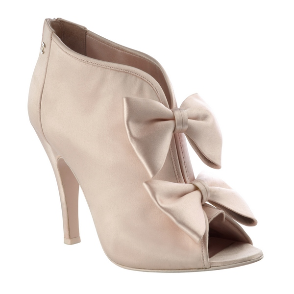 Satin bow low boots pink