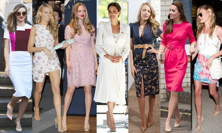 Kate Middenton , Blake Lively  , Miranda Kerr  , Angeline Jolie  , Amanda Seyfried  , Kate Bosworth  , nude pumps