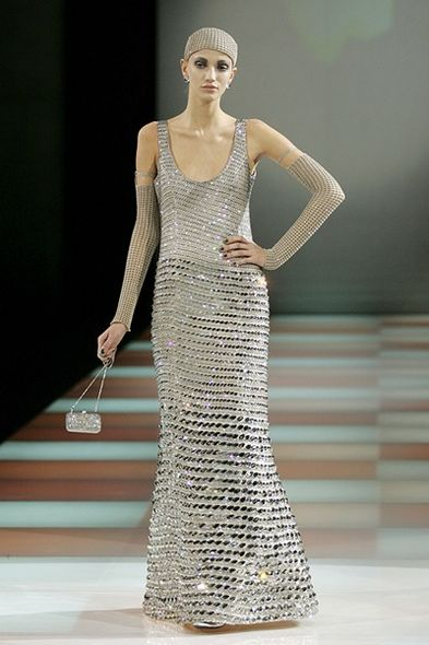 Giorgio Armani CRYSTALLIZED Diamond Leaf fashion runway evening gown