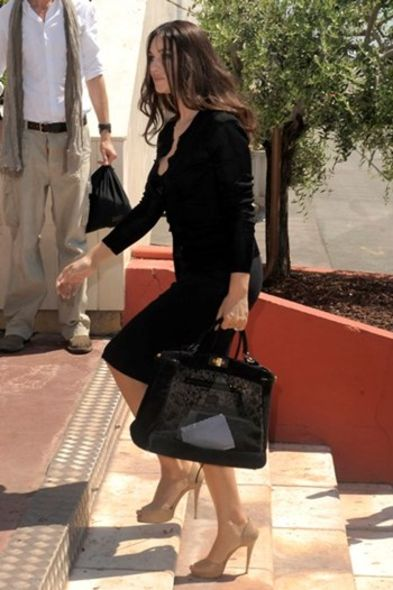 Monica Bellucci FENDI mesh and python peekaboo Cannes