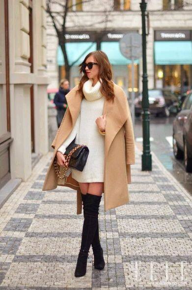 furry coat and long boots