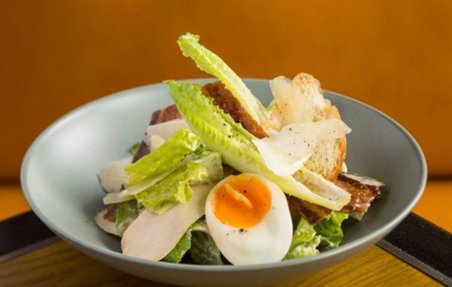 Chicken Caesar Salad, Pancetta, Anchovies, Soft Boiled Egg, Aged Parmesan