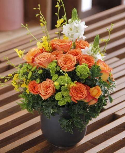 Orange Spray Rose with Ceramic Vase $520