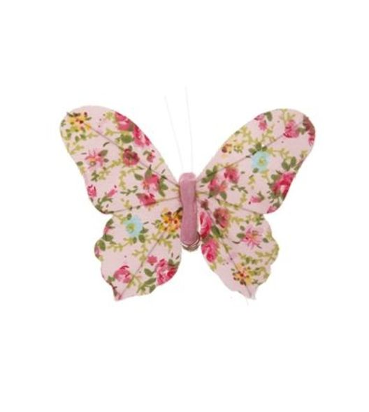 RJB STONE Floral Butterfly Clip-Pink ($50)