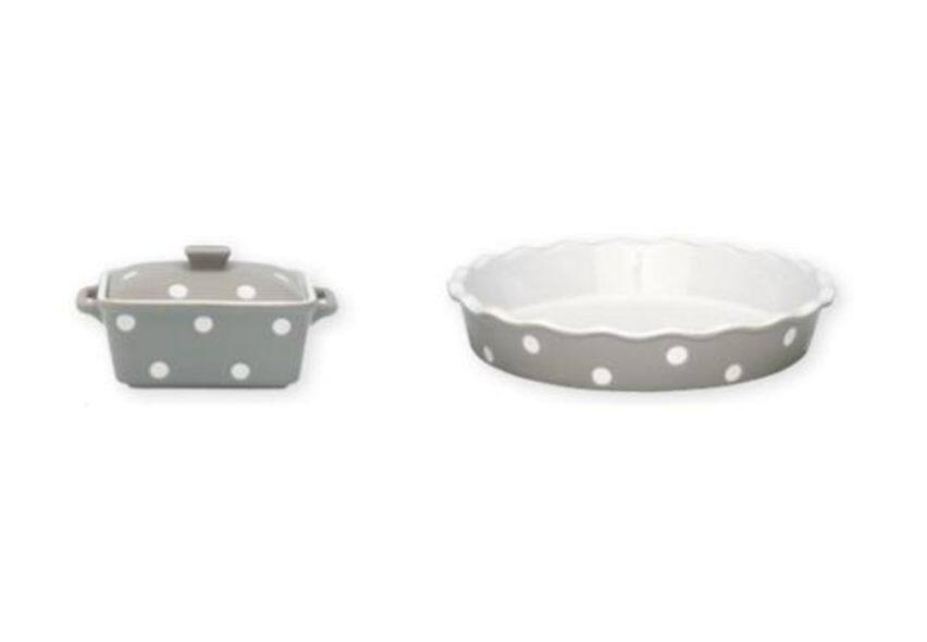 14 Oven Casserole With Lid Warm Grey Dot 13 5 X 10 X 6 5 Cm And Pie Dish 26 5cm