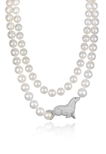 wedding jewel, pearl necklace, chopard seal pearl