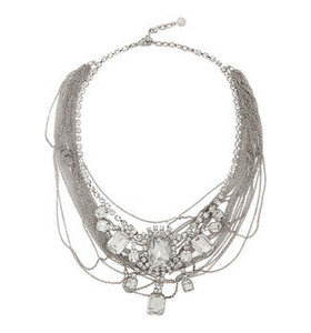 Rhodium-plated and crystal necklace