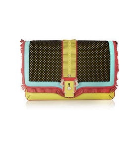 Sylvie calf-hair and leather clutch