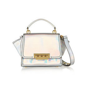 Eartha mini holographic faux patent-leather trapeze bag