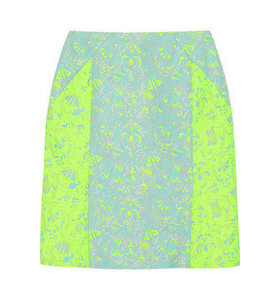 Neon color-block brocade skirt
