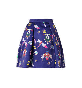 Calculom symbol-print satin mini skirt