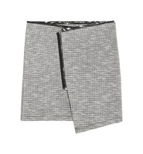 Metallic-trimmed wool skirt