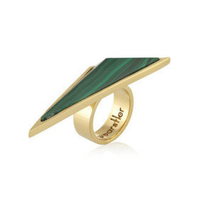Larisa gold-plated malachite ring