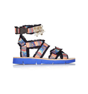 Embellished printed twill sandals