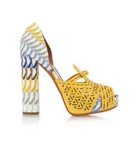 Crochet-knt and cutout leather sandals