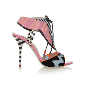 Leilou Stripe leather, suede and canvas sandals