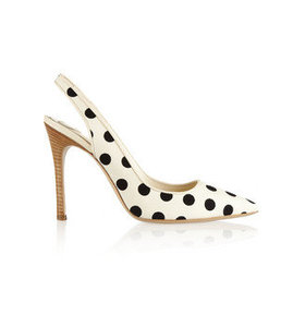 Polka-dot canvas slingbacks