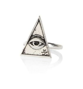 Silver tone Lusardi triangle eye ring