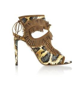 Studded fringed leather and elaphe sandals